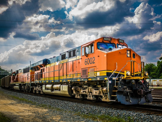 a photo of a freight train locomotive