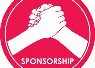 an illustration showing clasped hands over the word sponsorship