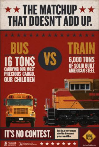 a poster showing a school bus and train to show in a crash it is no content