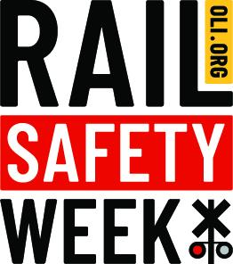 logo for rail safety week with words and a rail signal icon
