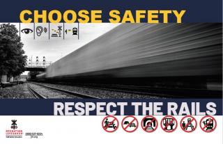 an image of a poster with a train and caution icons